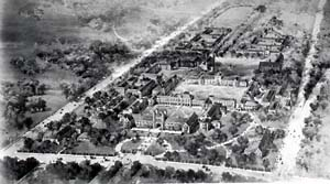 An early, 1899 campus plan by Cope and Stewardson.  The Academic Gothic style was inspired by the architecture of Oxford and Cambridge universities.