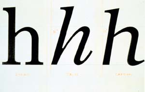 A drawing comparing Carter's National Geographic Caption (1979) to the magazine's previously used Roman and Italic typefaces.  The overall weight and proportions are about the same, but the new design slants less than Italic and is as wide as Roman.