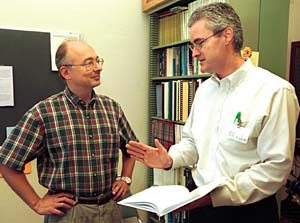 Victor Wickerhauser, Ph.D. (left), professor of mathematics in Arts & Sciences, and Joseph O. Deasy, Ph.D., assistant professor of radiation oncology in the School of Medicine, have used a mathematical tool called
