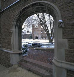 Archway view of West Brookings facade