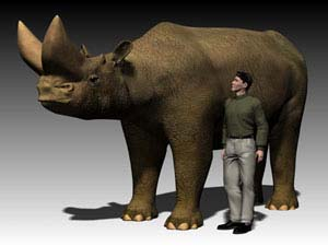 *Arsinoitherium* from Chilga, Ethiopia: Computer-based reconstruction of an arsinoithere, an extinct fossil mammal from Ethiopia that lived 27 million years ago. Height at the shoulder is around 7 feet. Human included for scale.