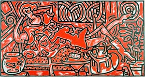 Keith Haring, *Red Room* (1988), Acrylic on canvas