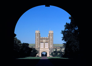A view of Brookings Hall, west facade from across the quadrangle
