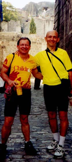 Jaffe (left) and David Lewis take a break from their biking trip to enjoy the beautiful sites of Les Beaux in southern France.