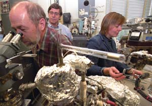 Alexander Meshik (foreground), Charles Hohenberg and Olga Pravdivtseva combined a selective laser with ion-counting mass spectrometry to find out how the world's only natural nuclear chain reaction site worked.