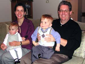 Bart Hamilton and his wife, Ursula Kopij, enjoy Thanksgiving Day with their twins, Bogdan (right) and Nina.