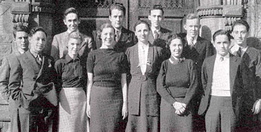 Tennessee Williams (second from left) and A.E. Hotchner (far right) in a 1936-37 yearbook photograph showing the staff of the *Eliot Review*, the campus literary magazine of Washington University in St. Louis.