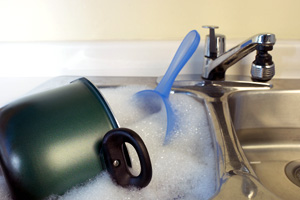 When washing dishes, let the dishes soak before rinsing, instead of using constantly running water.