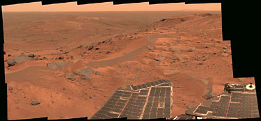 This mini-panorama was taken by Spirit on Aug. 23, 2005, just as the rover finally completed its intrepid climb up