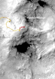Haskin Ridge in the Columbia Hills area inside Gusev Crater, as imaged by the Mars Global Surveyor MOC Narrow Angle Camera. The Athena science team for the Mars Exploration Rover mission has named a prominent ridge on the East side of the Husband Hill summit on the Red Planet