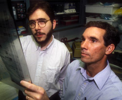 Mark Watson, left, and Timothy Fleming examine gels.