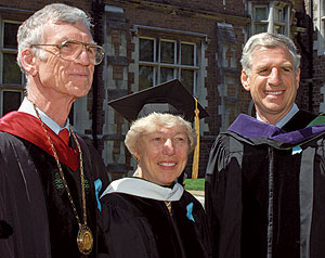 William H. (Bill) Danforth, his late wife, Elizabeth (Ibby), and John C. Danforth at the 1995 Commencement. On that day -- May 19 -- Bill presided over his last Commencement; Ibby received an honorary doctor of humanities; and John delivered the Commencement address.