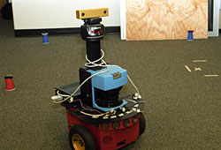 Aristo, the Washington University robot, uses sensor networks to avoid simulated