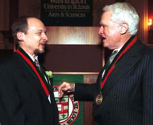Thomas F. Eagleton (right) with Randall L. Calvert, Ph.D., at the 2003 installation of Calvert as the Thomas F. Eagleton University Professor of Public Affairs and Political Science in Arts & Sciences.