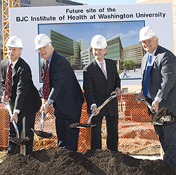 (L-R) Steven Lipstein, President and Chief Executive Officer of BJC HealthCare; Larry Shapiro, Executive Vice Chancellor for Medical Affairs and Dean of Washington University School of Medicine; Mark Wrighton, Chancellor of Washington University in St. Lo
