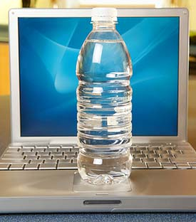 It's easy being green: Idling computers and bottled water, when used wisely, can make minimal impacts on the Earth.