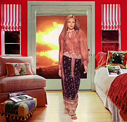 Martha Rosler, *Red and White Shades (Baghdad Burning),* 2004.