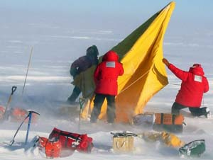 Doug Wiens and fellow researchers rough it in Antarctica during their 2001 expedition.