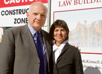 Harry and Susan Seigle in November, 2007, surveying construction of the building that bears their name.