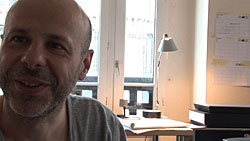 Philippe Parreno in *CHEW THE FAT (A documentary portrait by Rirkrit Tiravanija)*