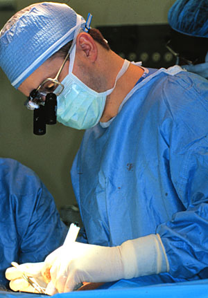 Dr. James Lowe in the operating room.