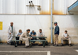 Sharon Lockhart, *Outside AB Tool Crib: Matt, Mike,Carey, Steven, John, Mel and Karl,* 2008.