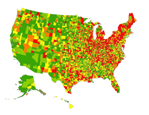 The largest U.S. study of the epidemiology of Parkinson's disease shows the highest prevelance (13,800 cases or more per 100,000 residents ages 65 and older) in red. Lower prevalence rates are progressively indicated by orange, yellow, light green and green.