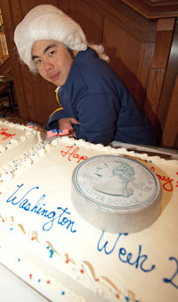 Sophomore Srun Sosothikul Dressed As George Washington During The Birthday Cake Celebration In Danforth University Center Feb 15