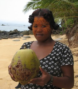 A chef wearing avocado sunscreen holds a sweet nui vai coconut. The photo was taken in the Masoala Peninsula of Madagascar by plant biologist Bee Gunn while she was collecting coconut leaf tissue for DNA analysis.The DNA of the Madagascar coconuts turned out to be particularly interesting, preserving, as it did, news of the arrival of ancient Austronesians at the island off Africa.