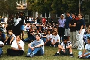 The mood was somber on campus in the days following 9/11, as students gathered in Brookings Quadrangle Sept. 12, 2001, for a candlelight vigil. Students also organized blood drives and garage sales and helped each other through difficult times. Ten years later, students are mobilized again to commemorate the events of 9/11.