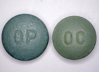 The prescription painkiller OxyContin comes in several different dosages, including this 80 mg version. An abuse-deterrent formulation of the OxyContin (left), introduced in 2010, has curtailed its illicit use, but about 25 percent of drug abusers entering rehab still abuse the drug, according to new research at Washington University School of Medicine in St. Louis.