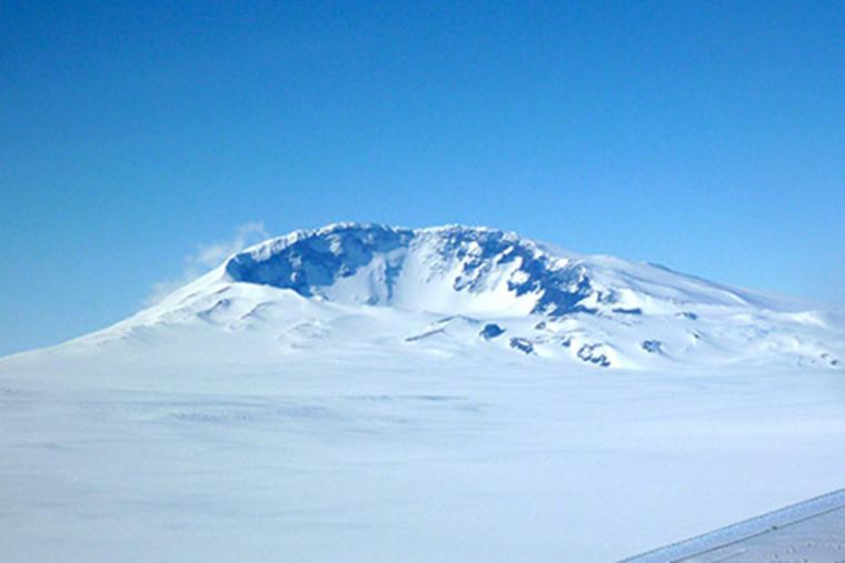 ice antarctica under volcano