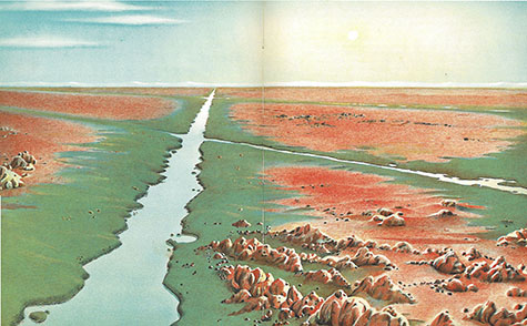The artist's conception of the canals on Mars, still a tenuous possibility when the book was published in 1956. Gallant is noncommittal about the existence of the canals. Astronomer Percival Lowell swore he could see them, back in1906, but Gallant said dryly that if you squint and strain long enough you can make yourself see just about anything.