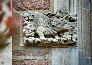 WILSON HALL: A dinosaur, one of many, embellish the hall's entrance. (Photo: James Byard