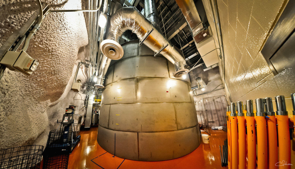 The dark-matter detector Lux in the Davis chamber of the old Homestake mine inSouth Dakota. The chamber is named for Raymond Davis, who won the Nobel Prize in Physics in2002 for an experiment housed in the same chamber that detected neutrinos generated by the sun. (Credit: Carlos Faham/LBL)