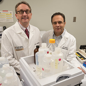 Clay F. Semenkovich, MD (left), and Irfan J. Lodhi, PhD, have discovered that enzymes linked to diabetes and obesity appear to play key roles in arthritis and leukemia, potentially opening up new avenues for treating these diseases.