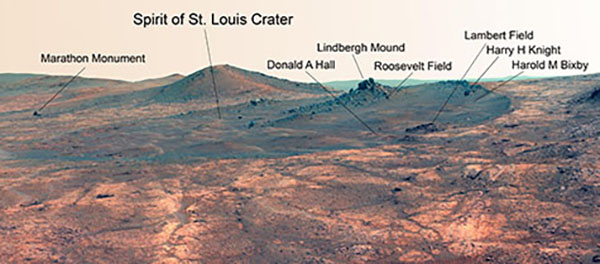 A false color image of the Martian crater the Opportunity rover is now exploring, which has been named Spirit of St. Louis to recognize the discovery of a promising target by mission members from Washington University in St. Louis. Click here for a much larger image. (Credit: NASA/JPL-Caltech/Cornell Univ./Arizona State Univ.)