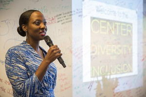 LaTanya N. Buck speaks at the dedication of the Center for Diversity and Inclusion in September 2014.