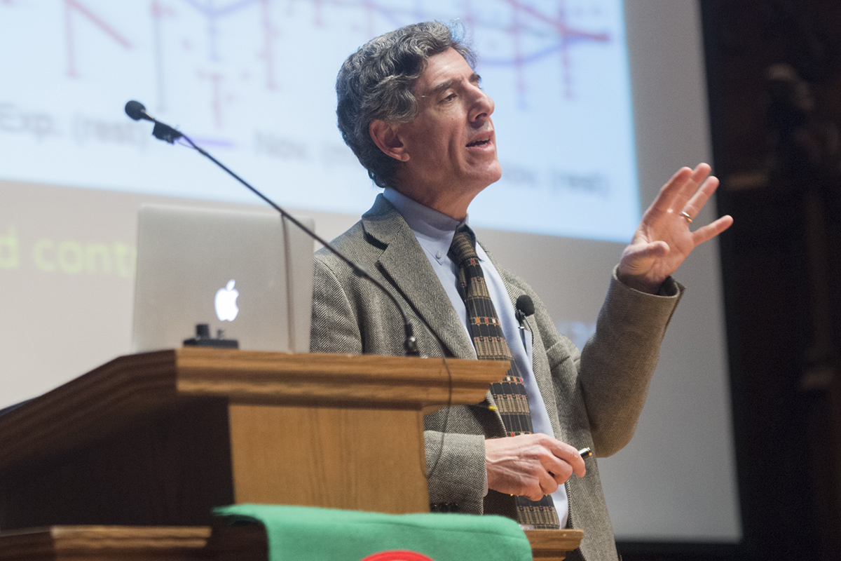 "Neuroscientist Richard Davidson, PhD, gave the Assembly Series' 2014 Witherspoon Memorial Lecture on Religion and Science. His lecture was titled ""Change Your Brain by Transforming Your Mind."" (Photo: Mary Butkus)"
