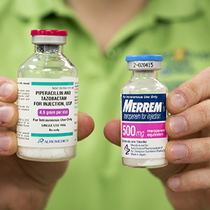 Using three antibiotic drugs thought to be useless against MRSA infection — piperacillin and tazobactam (bottle on left) and meropenem — Washington University researchers, led by Gautam Dantas, PhD, have killed the deadly staph infection in culture and in laboratory mice.