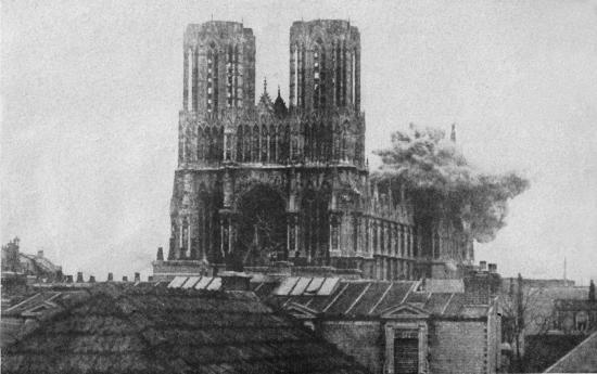 Documentary photo of cathedral bombing.