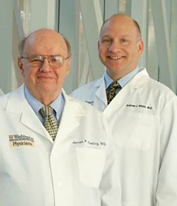 Andrew J. White, MD, (right) stands with his mentor, James P. Keating, MD. White has been named the James P. Keating, MD, Professor of Pediatrics. Keating died in late 2014.