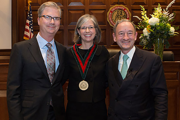 Holden Thorp, Nancy Staudt and Mark Wrighton