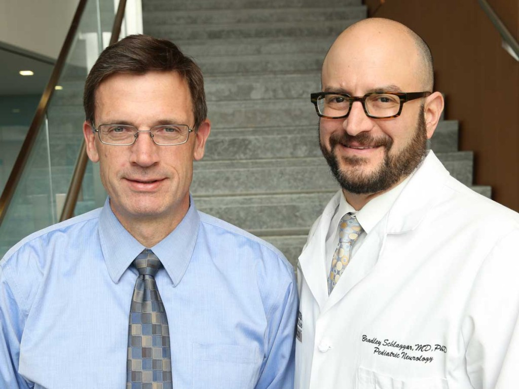 John N. Constantino, MD, (left) and Bradley L. Schlaggar, MD, PhD, are co-directors of Washington University's Intellectual and Developmental Disabilities Research Center (IDDRC), which has received NIH funding for the next five years. Photo: Washington University