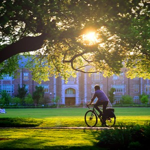 A student rides a bike across campus in the evening.