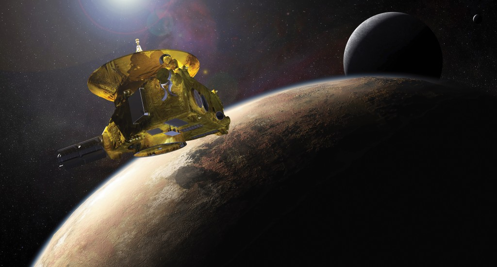 Artist conception of New Horizons encountering Pluto and its largest moon, Charon, created prior to the flyby (NASA/JHUAPL/SwRI)