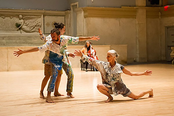 Three dancers performing
