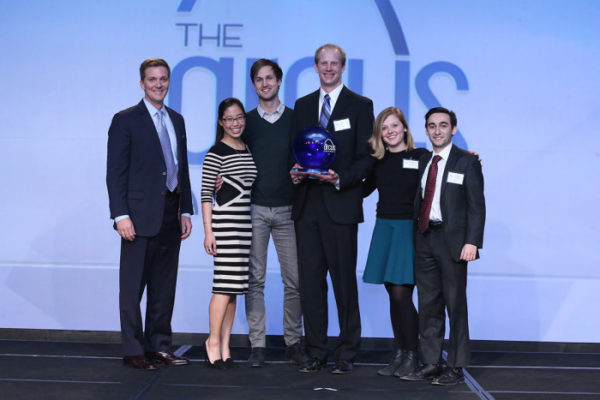 The Washington University student group IDEA Labs won the Spirit of St. Louis Award at the St. Louis Regional Chamber's 2016 Arcus Awards on Feb. 25. From left are Dan Kraus, senior vice president and director of commercial banking at BMO Harris Bank, the award's sponsor; and IDEA Labs student leaders Lillian Kang, Ian Schillebeeckx, Stephen Linderman, Christine Averill and Ramin Lalezari.