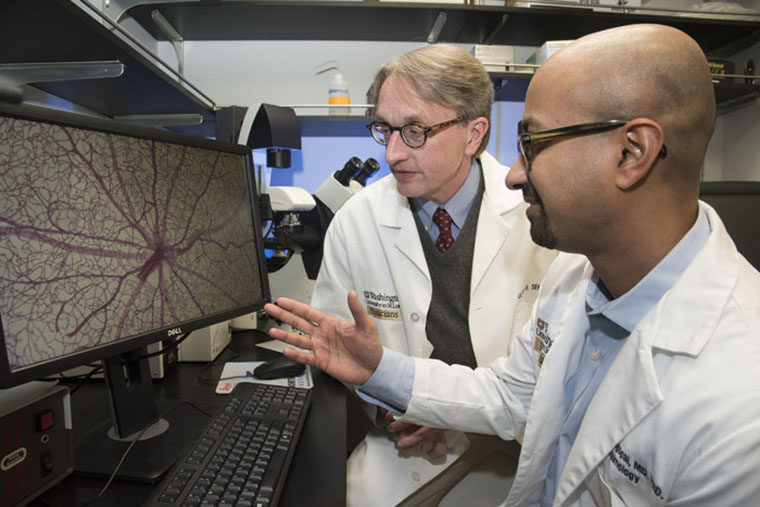 Scientists looking at a mouse retina on a computer monitor.