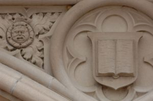 Bosse and other details on the west facade of Brookings Hall.